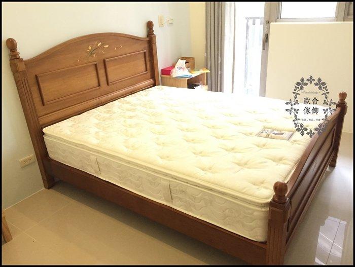 鄉村風 彩繪玫瑰/稻穗原木六尺床架雙人床標準床架 另有實木單人床四柱床加大床Kingsize床斗櫃衣櫥房間組【歐舍傢飾】