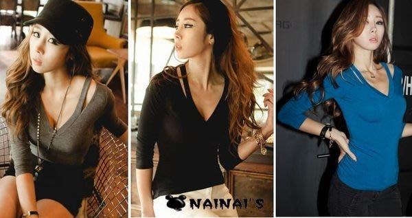 【NAINAIS】Anna‧7268 韓版 夜店跑趴 性感鏤空雙肩帶V領T恤 灰/黑現貨
