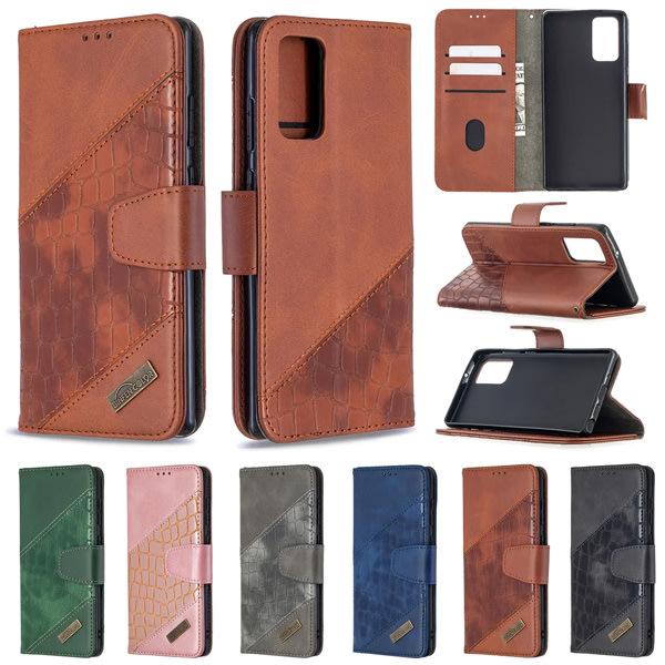 三星 Note20 S20+ S20 Ultra Note10 Lite Note10+ 手機皮套 撞色鱷魚紋皮套