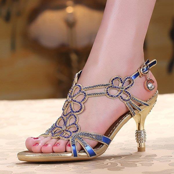 5Cgo 【鴿樓】含稅會員有優惠18789945603 水晶女高跟水鑽涼鞋 波西米亞羅馬高跟鏤空鑲鑽女鞋