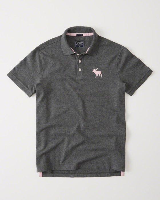 Maple麋鹿小舖 Abercrombie&Fitch * AF 灰色電繡大麋鹿POLO衫*( 現貨L號 )