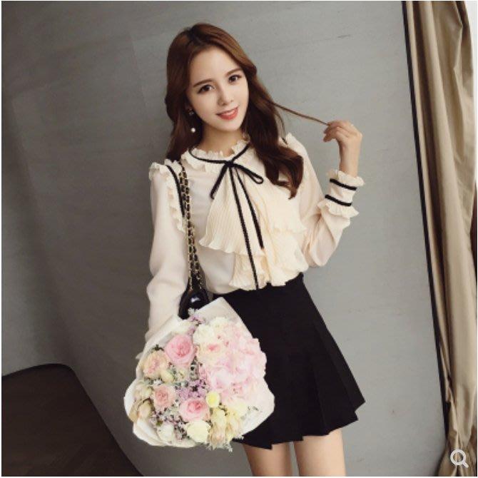 秋季新款女装韩版圆领系带木耳边长袖蝴蝶结雪纺衫女打底衬衫