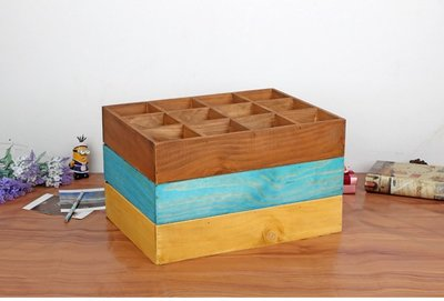 Boo zakka 生活雜貨 展示盒 飾品收納 深木色 原木色 12格收納櫃 十二格木櫃 置物櫃 原木 OLA01C1 桃園市
