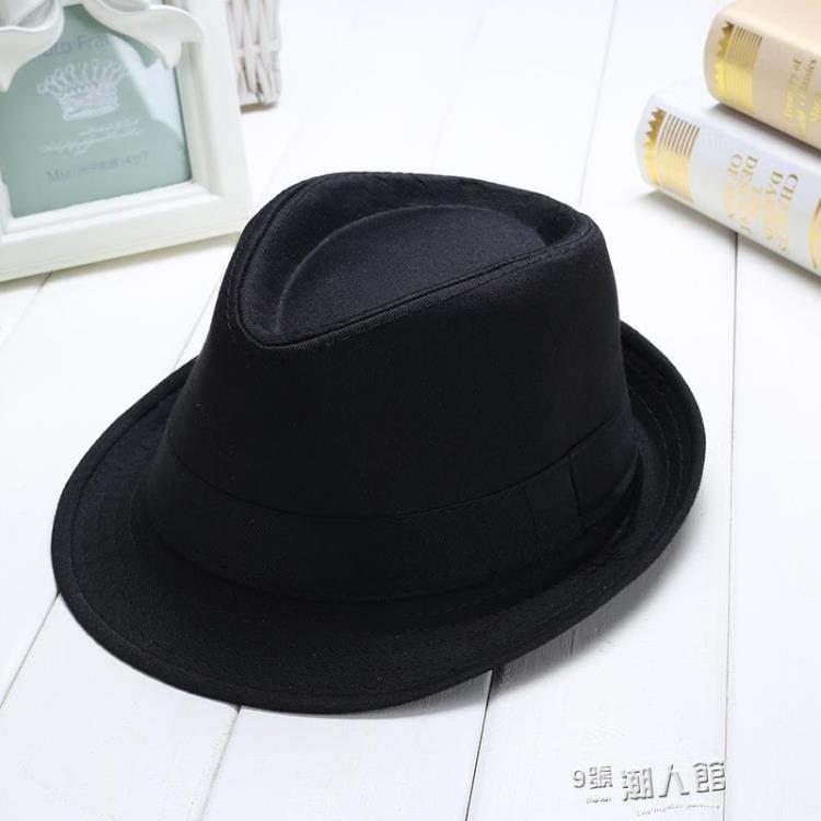 全館免運-可開發票 男女夏季遮陽爵士帽舞蹈短帽檐黑色兒童帽禮帽表演帽 【MISS ANNA】