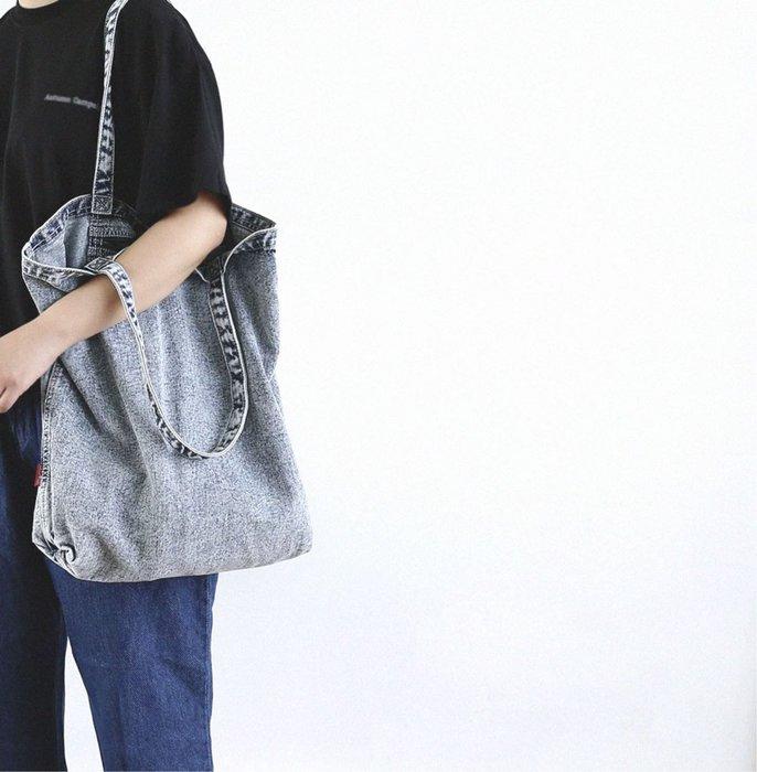 原創設計大容量牛仔布袋肩背購物袋男女環保袋休閒帆布袋 預購