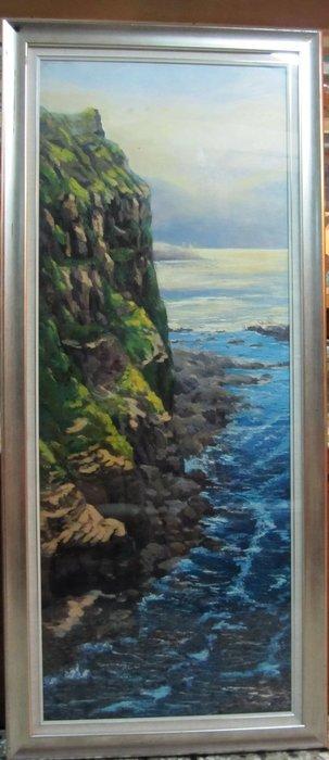 古藝閣  近代台灣著名畫家林聰明大師真跡作品 作品名稱鼻頭浪濤