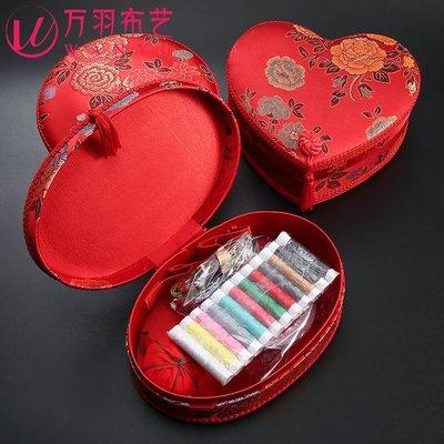 雜貨小鋪 結婚針線盒陪嫁套裝婚禮出嫁新娘用大紅色針線包家用創意婚慶用品