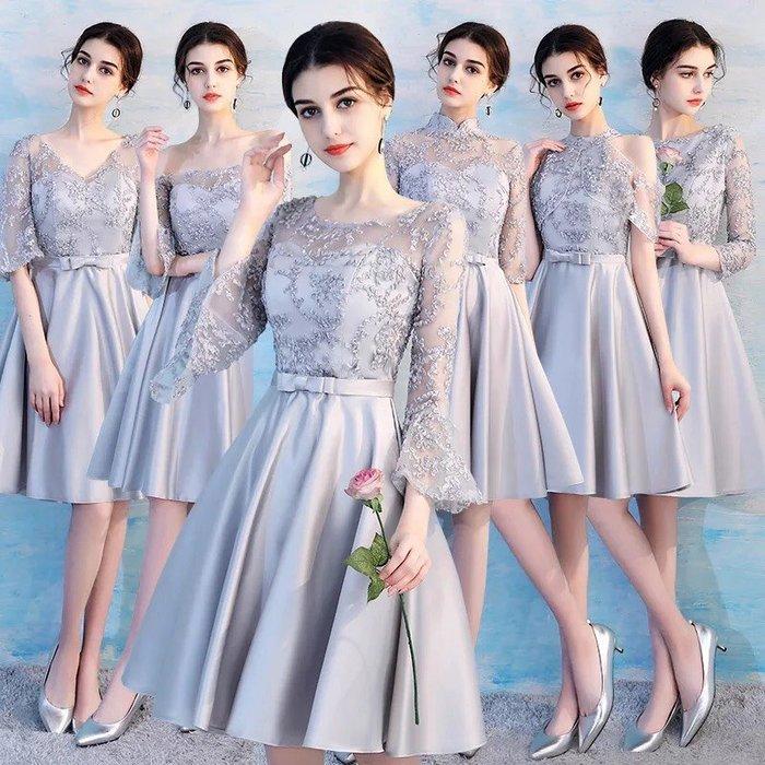 禮服伴娘服2018春季新款姐妹團短款灰色大碼顯瘦婚禮禮服宴會連衣裙--崴崴安