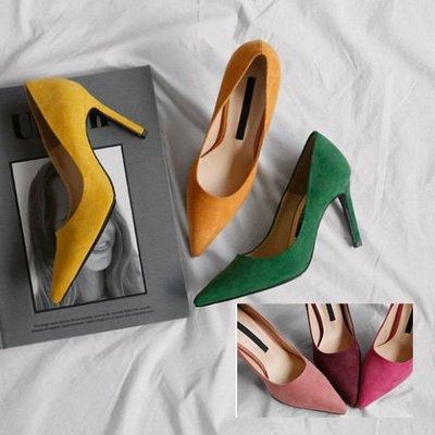 高跟鞋 簡約質感絨面尖頭高跟鞋 艾爾莎...