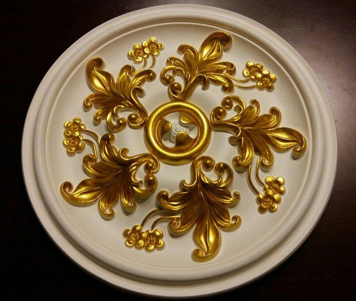 歐洲宮廷藝術精品- - 維多利亞 巴洛克立體浮雕PU燈座-PO-33-0-HD手工描金37 cm $2180