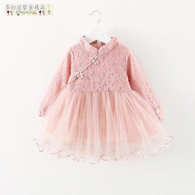 ~多妙屋~女寶寶大紅色生日裙子0-3歲1女童春季旗袍連衣裙2小女孩公主裙