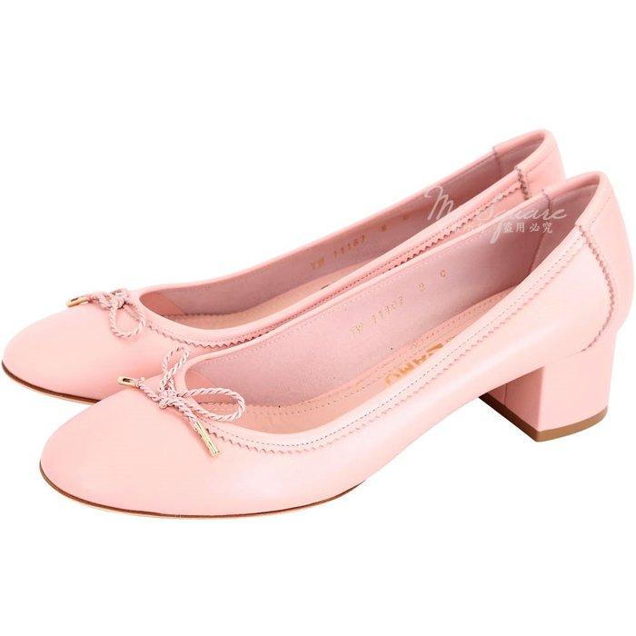 米蘭廣場 Salvatore Ferragamo ENEA 40 蝴蝶綁帶羊皮粗跟鞋(粉色) 1711071-05