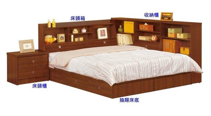 【DH】商品貨號G271-1商品名稱 《艾妮》5尺書架型雙人抽屜式床架組。備有3.5尺床組,另計~主要地區免運費