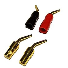 純銅鍍金 針型 鎖式 鍍金香蕉插 免銲接 喇叭夾式端子專用4個(=1個34元)