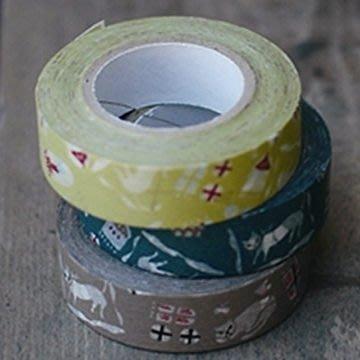 《倉敷意匠計畫室45322-05》關美穗子的 貓屋敷 3色 (15mm) 3卷一組,日本進口和紙膠帶