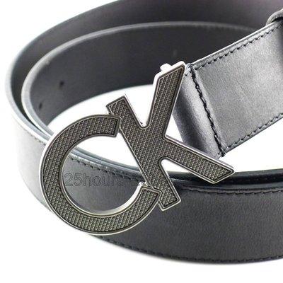 CK專櫃正品◎全新Calvin Klein原廠正品防刮大CK LOGO百搭真皮皮帶 ◎可附原廠提袋