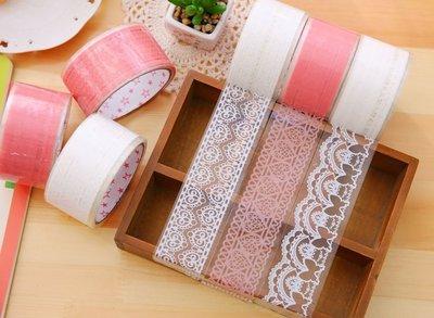 大號透明蕾絲膠帶 DIY裝飾貼紙粉色白...