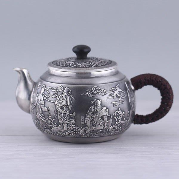 5Cgo【茗道】含稅會員有優惠 525466546099 日本原創999純銀純銀高檔銀壺茶壺茶杯泡茶茶海茶玩燒水壺純手工