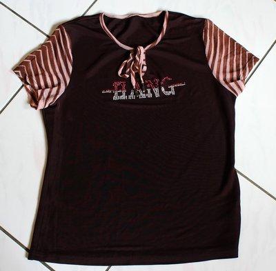 NO BRAND 香港製咖啡色袖子斜條紋貼鑽涼爽好穿短袖T-Shirt  -清衣櫃一元起標標多少賣多少隨便賣