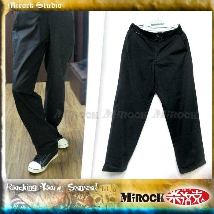 MIROCK米洛克》日本裏原宿Attractions寬直筒反摺褲管長褲|黑色|復古英倫時尚