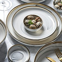 餐碗 餐具 玻璃碗 盤子 瓷碗北歐風描金大理石紋陶瓷西餐盤子牛排盤沙拉盤點心甜品湯碗