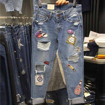 bibi  韓國連線【 BVG2246  】 正韓   亮片貼布磨破男友BF牛仔褲