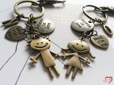 ♥ STORY SAYS ♥【Believe in love】手創 客製古銅成對鑰匙圈 情人節 禮物 朋友 生日 情侶