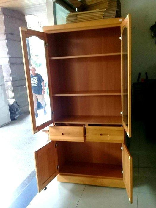 新竹二手家具 買賣 總店來來 3尺 實木 書櫃 4門 置物櫃~新竹搬家公司|竹北-新豐-竹南-頭份-2手-家電 買賣-餐邊櫃-衣櫥-床架-床墊-冰箱-洗衣機