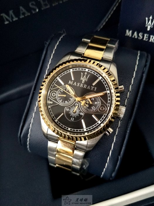 請支持正貨,瑪莎拉蒂手錶MASERATI手錶COMPETIZIONE 款,編號:MA00063,黑色錶面金銀色精鋼錶帶款