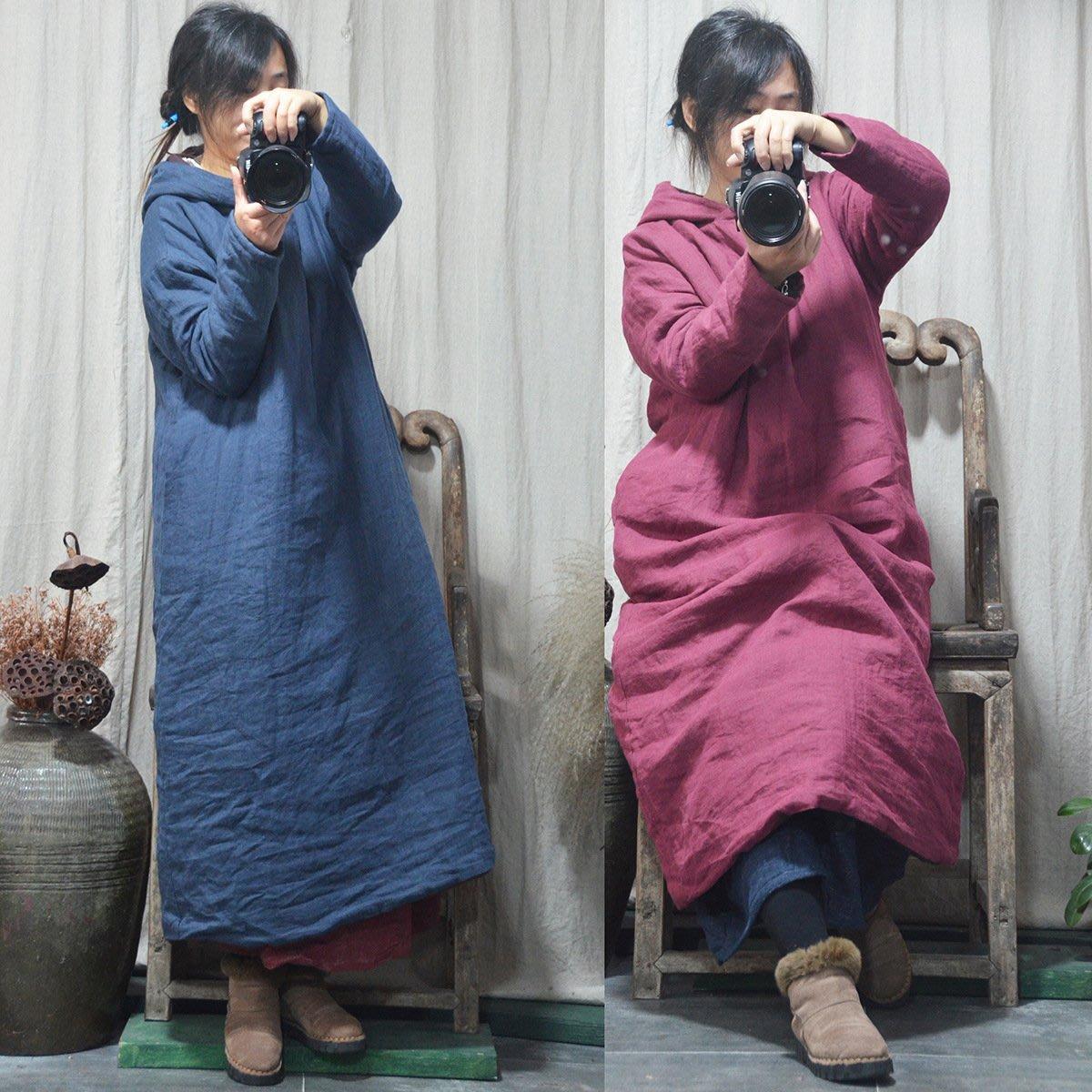 (老銀屋)冬裝簡約復古麻質 連帽加厚鋪棉長袍/連衣裙