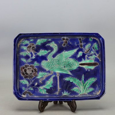 大明宣德琺琺彩仙鶴紋茶盤水仙盤 古董 古玩 民間收藏