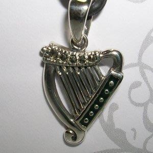 琥珀貓銀飾DIY【925純銀飾品】墜飾~N9983~豎琴~一個