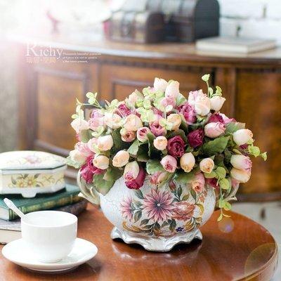 INPHIC-珠光效果含苞玫瑰花束桌擺手繪花盆仿真花套裝