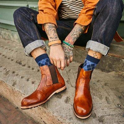 休閑擦色復古英倫風切爾西馬丁機車短靴男高幫厚底真皮鞋韓版潮流