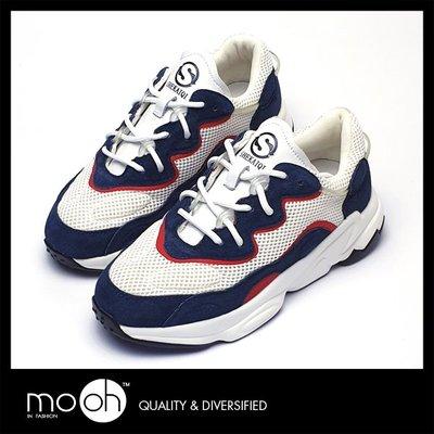 老爹鞋 拼色厚底真皮網布休閒鞋 白藍色 mo.oh(韓國鞋款)