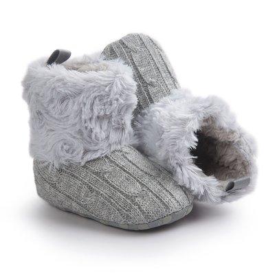 森林寶貝屋~特價~灰色毛毛靴子~學步鞋...