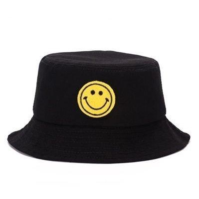 遮陽帽 笑臉漁夫帽-時尚刺繡簡約百搭男女帽子2色73db35[正韓進口][米蘭精品]