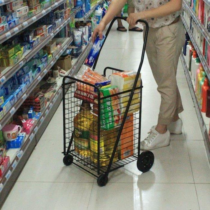 大號購物車買菜車 鐵質超市手推車小拉車拖車折疊便攜車鐵輪轂