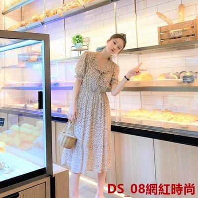 DS_08網紅時尚666studio網紅少女19夏款爆款!藍色小愛心系帶雪紡連衣裙BK1010