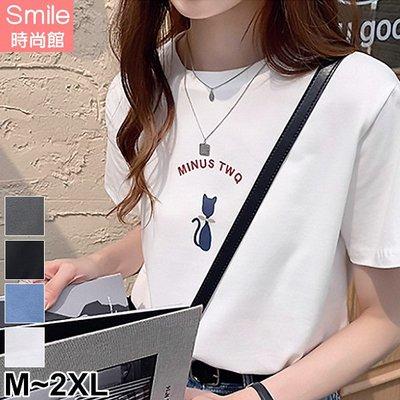 【V3098】SMILE-俏甜休閒.貓咪字母印花短袖上衣