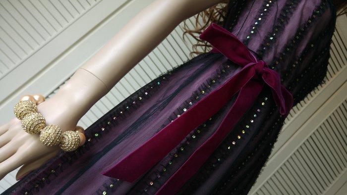 BCBG MAXAZRIA 網紗亮片細肩帶紫絲絨蝴蝶結小禮服