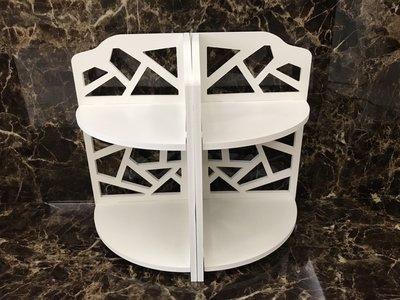 【∮魔法時光∮】白色雙層桌上轉角置物架...
