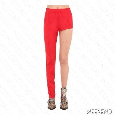【WEEKEND】 PUSHBUTTON 不對稱 運動風 長短褲 側邊線條 單腿熱褲 紅色 折扣