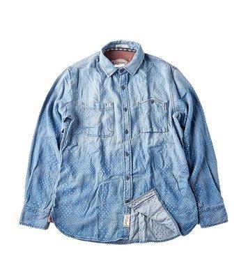 藍染 靛青 緹花布 點點 菱格 襯衫 FIND THURS 軍事風 工裝 限時特價 原價2500
