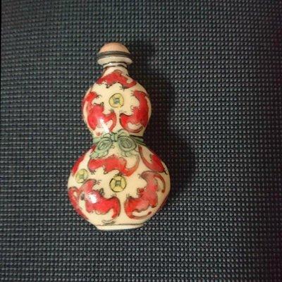 古玩珐瑯鼻煙壺 精品擺件 紅銅 彩繪 銅雕蝙蝠 雜項