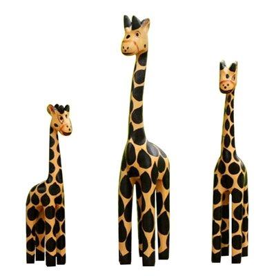 創意禮物送朋友老人生日工藝禮品實用手繪長頸鹿木雕裝飾擺件