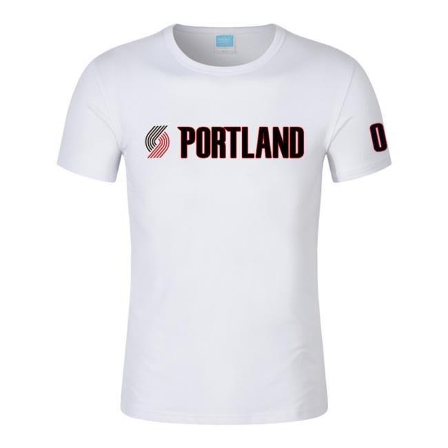 男士籃球運動T恤衫開拓者0號利拉德印花圓領短袖T恤 town