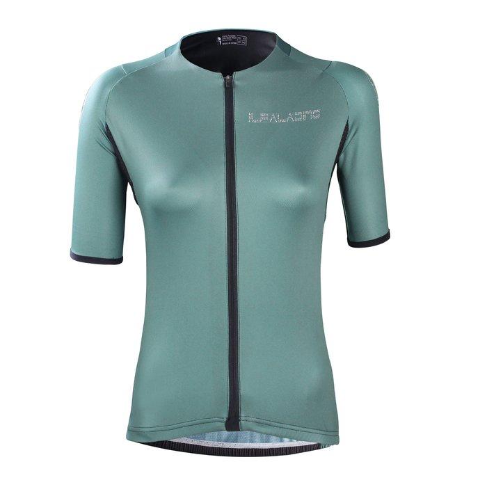 水鑽系列【ILPALADINO】競技型女士短袖車衣 :: 墨綠