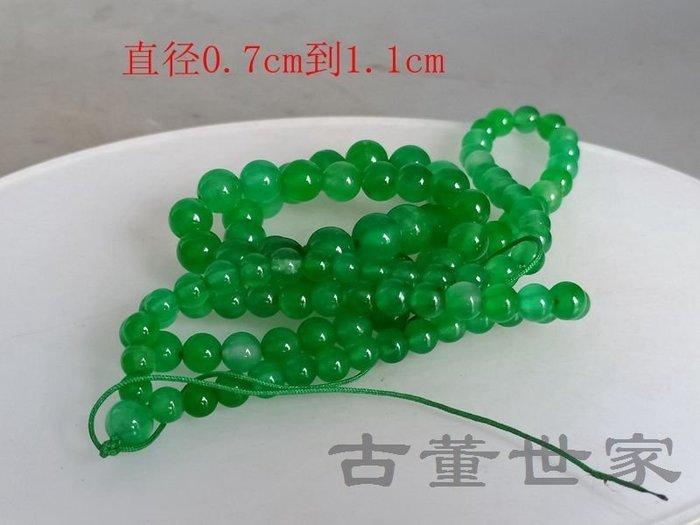 【聚寶閣】古董古玩翡翠清代傳世天然滿綠翡翠項鏈 sbh5299