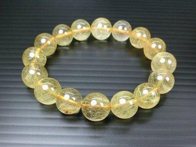 □§Disk的天然水晶§□【招財磁場】AA級巴西金髮晶圓珠手鍊(13mm)FO07-A貨專賣